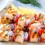 Lemon Dill Salmon Skewers