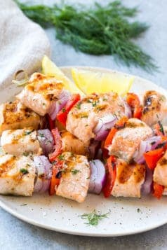Grilled Lemon Dill Salmon Skewers