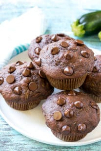 Skinny Chocolate Zucchini Muffins Recipe