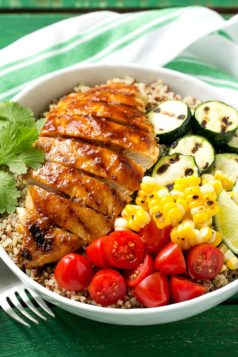 Barbecue chicken quinoa bowls