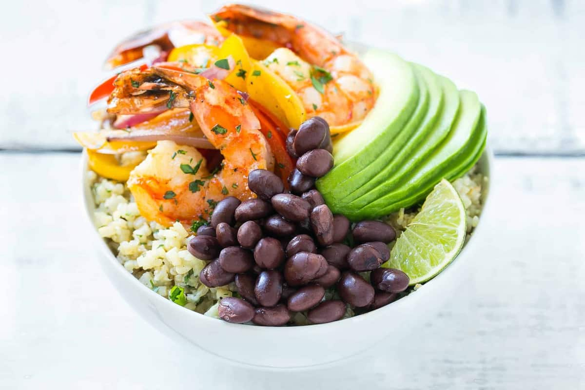 Shrimp Fajita Bowl with avocado.