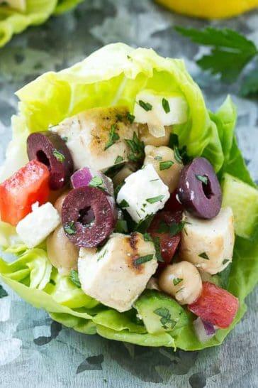 Easy Greek Chicken Lettuce Wraps