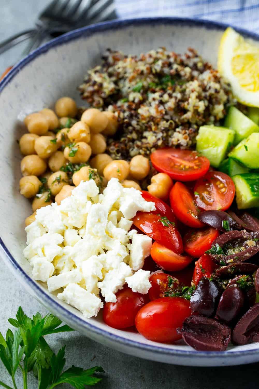 Greek Quinoa Salad Bowl Recipe Healthy Fitness Meals