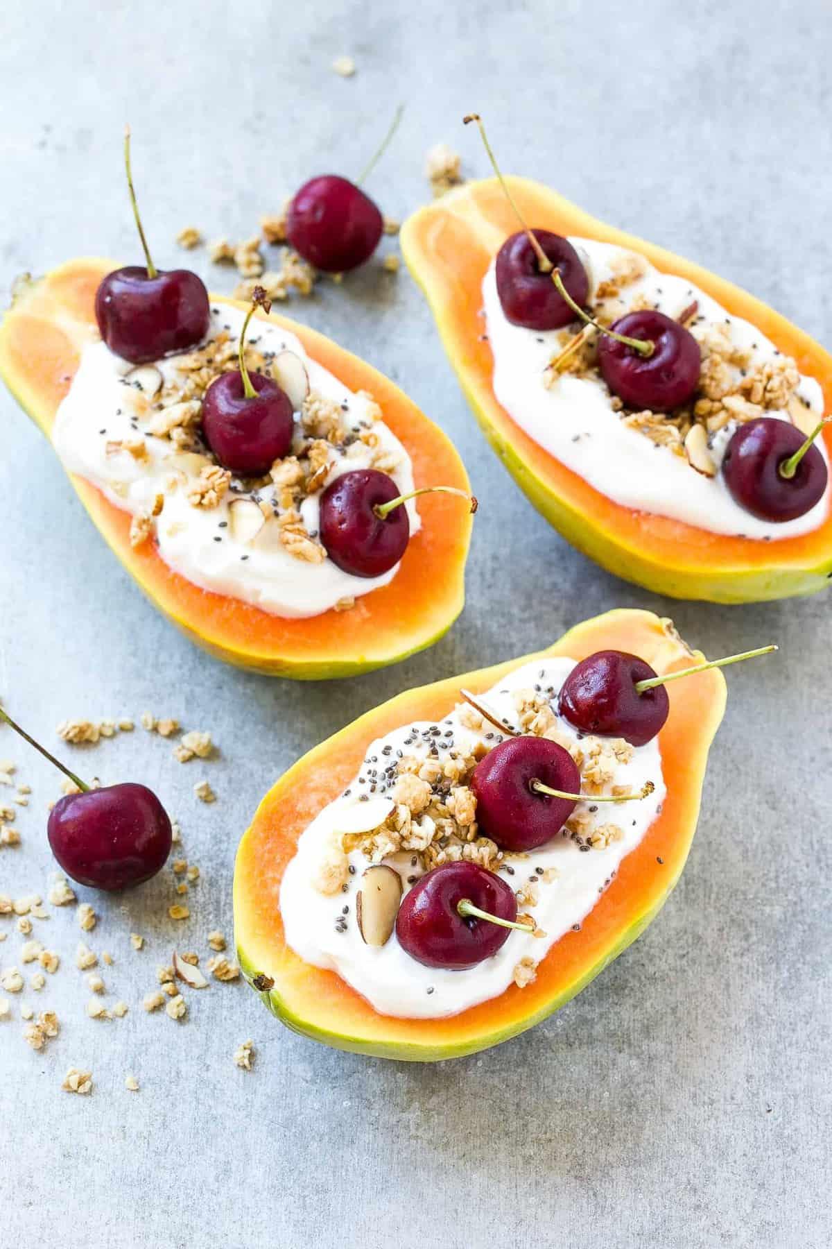 top down shot of Papaya fruit breakfast boats