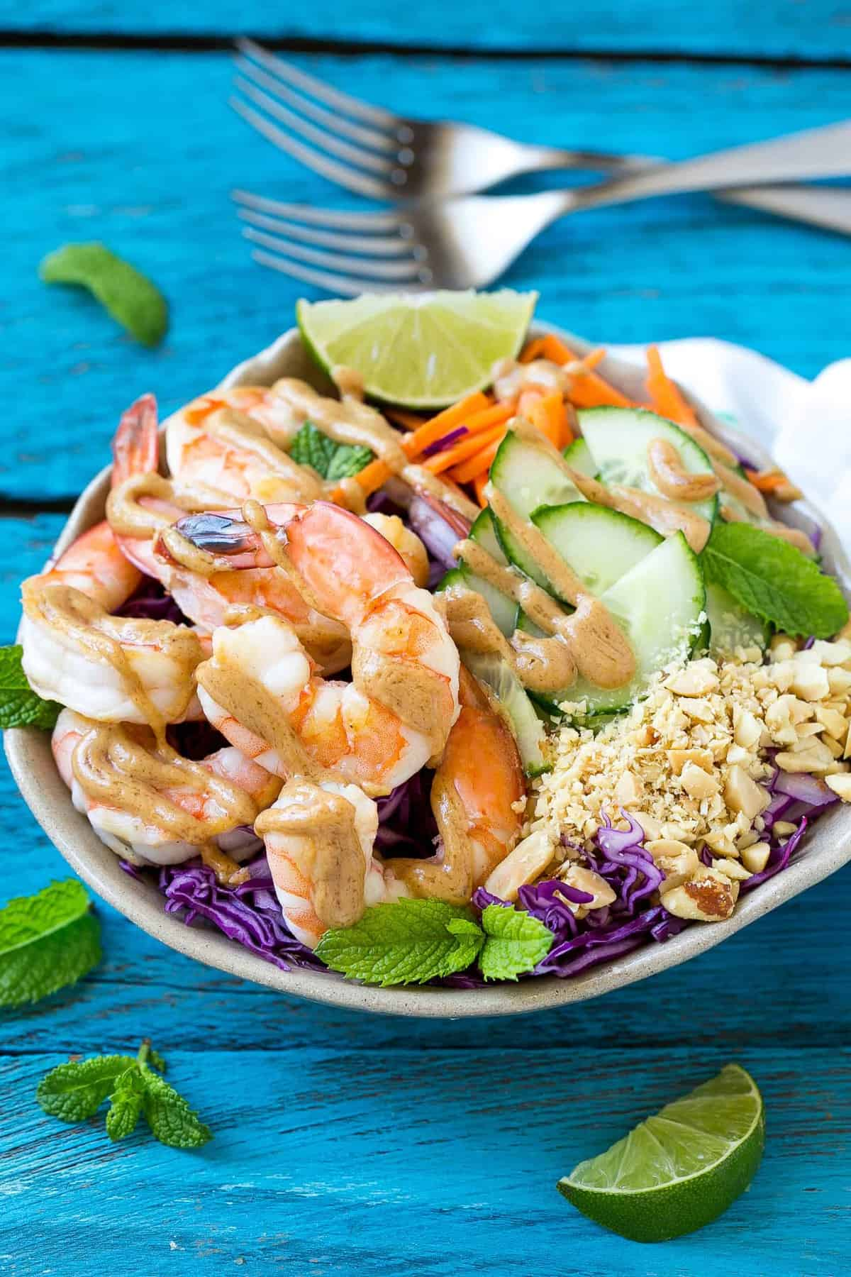 Shrimp Salad with Peanut Dressing in a bowl
