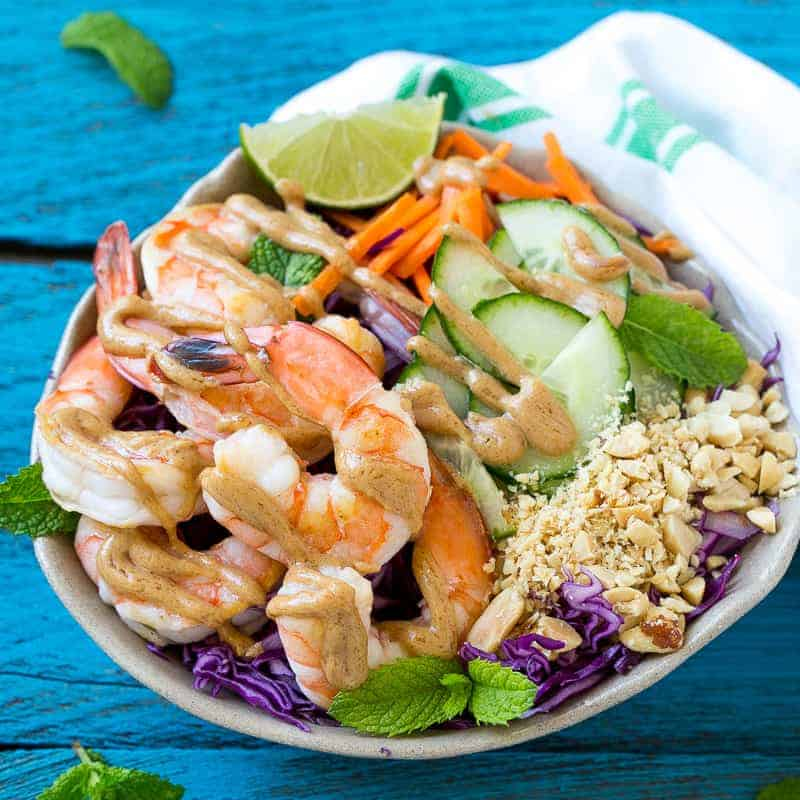top down shot of Shrimp Salad with Peanut Dressing in a bowl