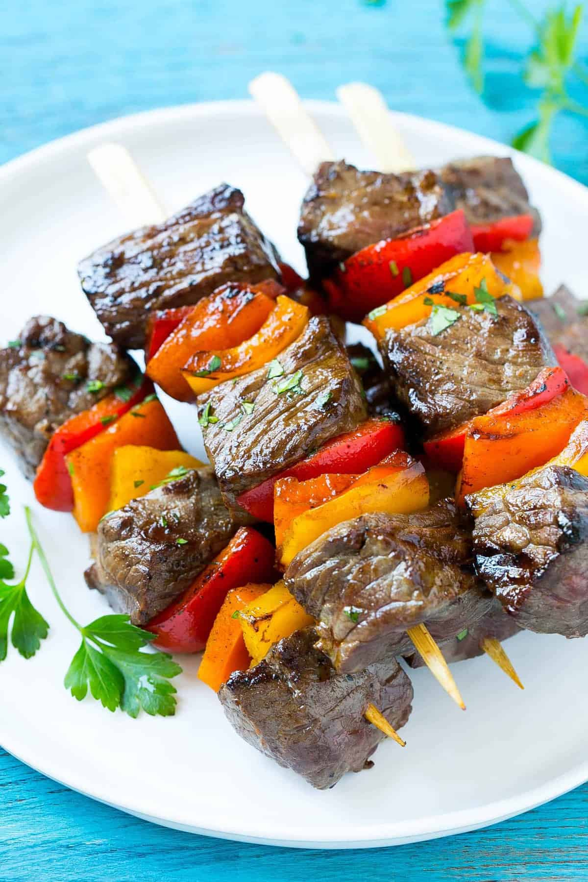kabobs made with lean steak and peppers