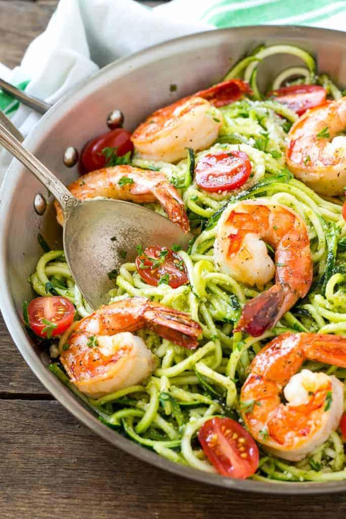 Pesto shrimp zoodles