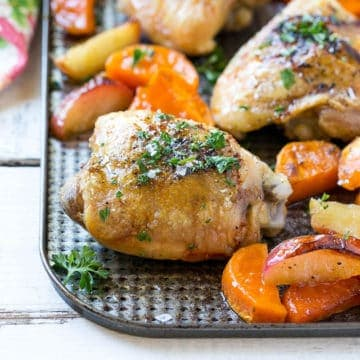 Roasted Chicken with Maple Sweet Potatoes and Apples recipe