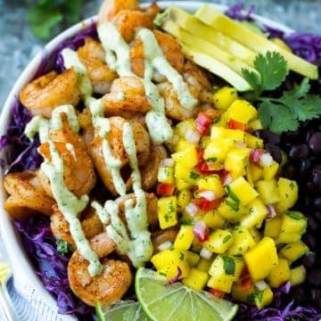 easy shrimp taco bowl recipe