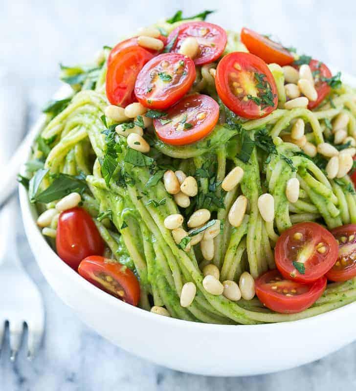spinach and avocado pasta
