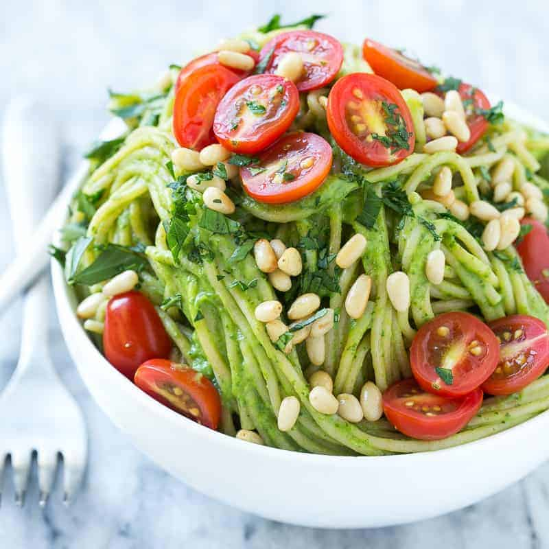 spinach and avocado pasta
