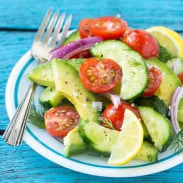 Summer Avocado Cucumber Tomato Salad