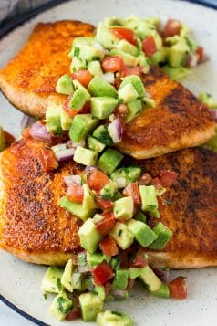 Spice Crusted Salmon with Avocado Salsa