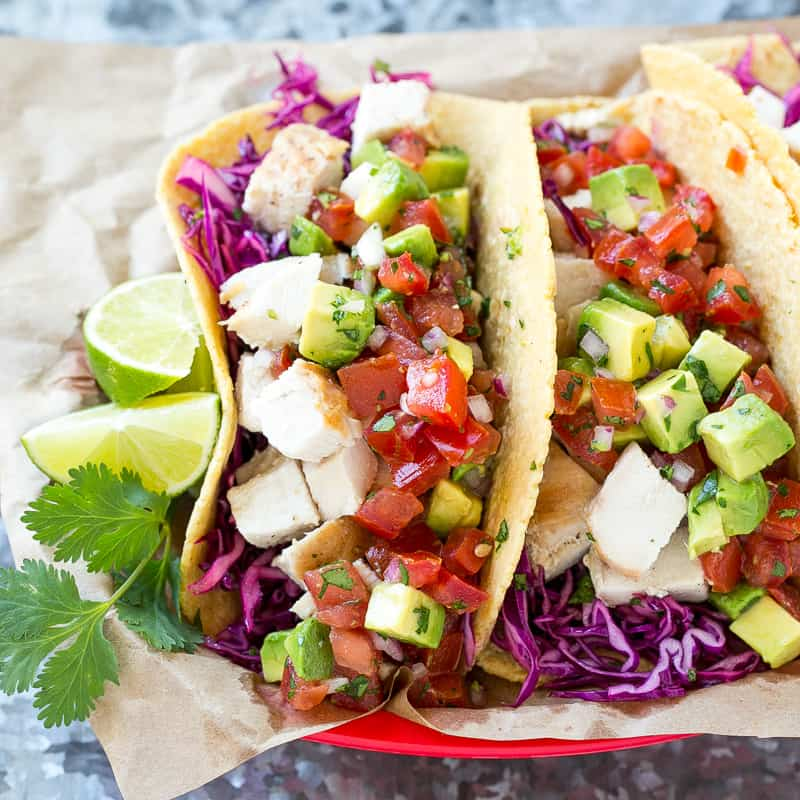 two Easy Chicken Tacos with lime on the side