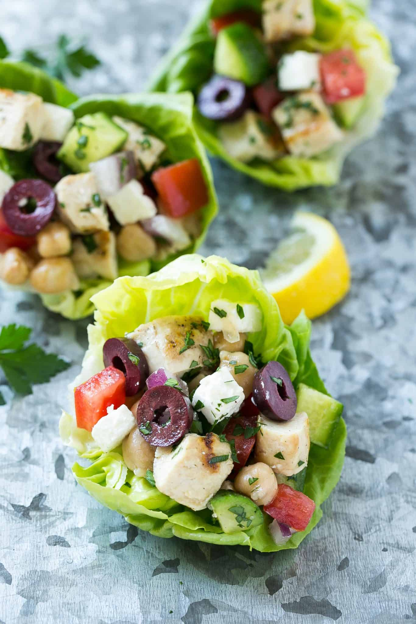 easy greek chicken lettuce wraps