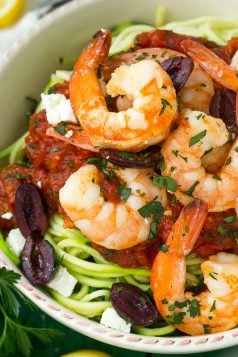 Greek Shrimp Scampi Zucchini Noodles