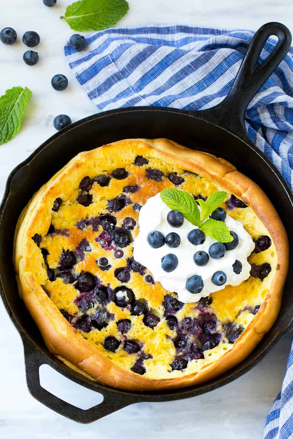 easy blueberry breakfast recipe in a skillet