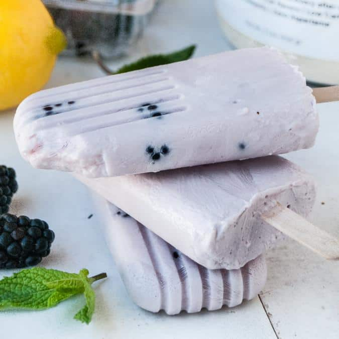 Blackberry Protein Popsicles