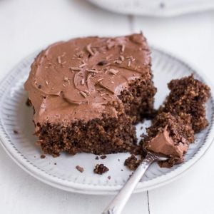 close up image of chocolate cake on a plate