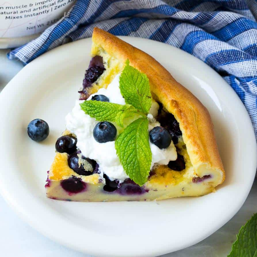 Blueberry Puffed Pancake in skillet
