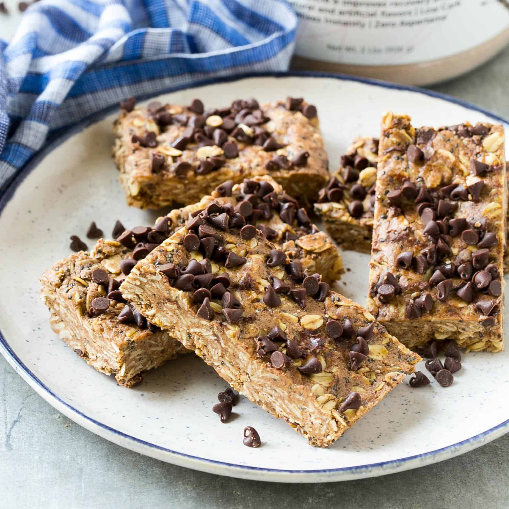 protein bars with chocolate chips on a plate