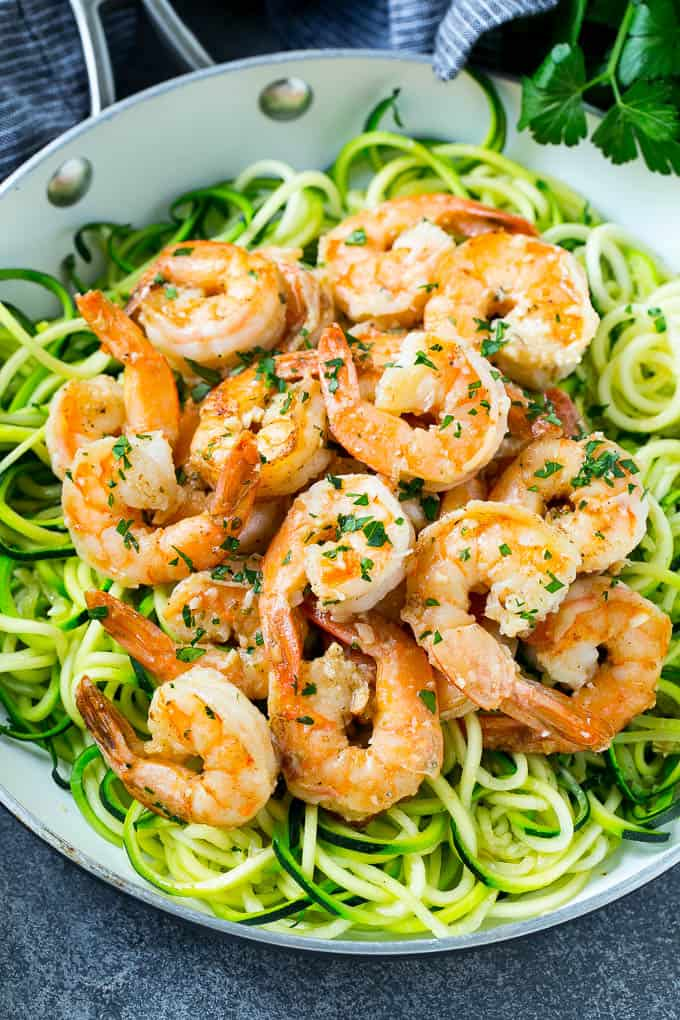 Shrimp Scampi Zoodles on a white plate.