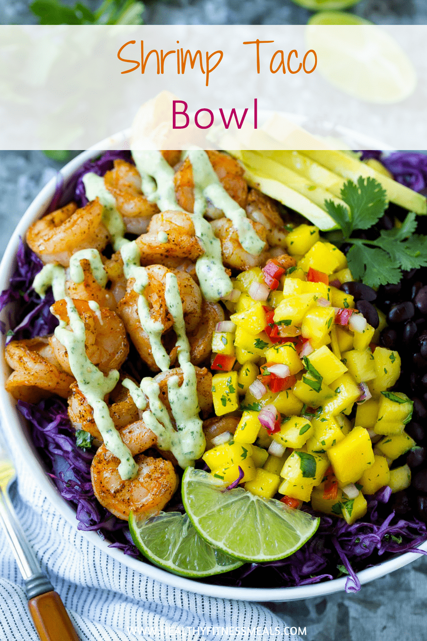 shrimp taco bowl with mango salsa