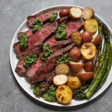 Sheet Pan Steak with Kale Pesto