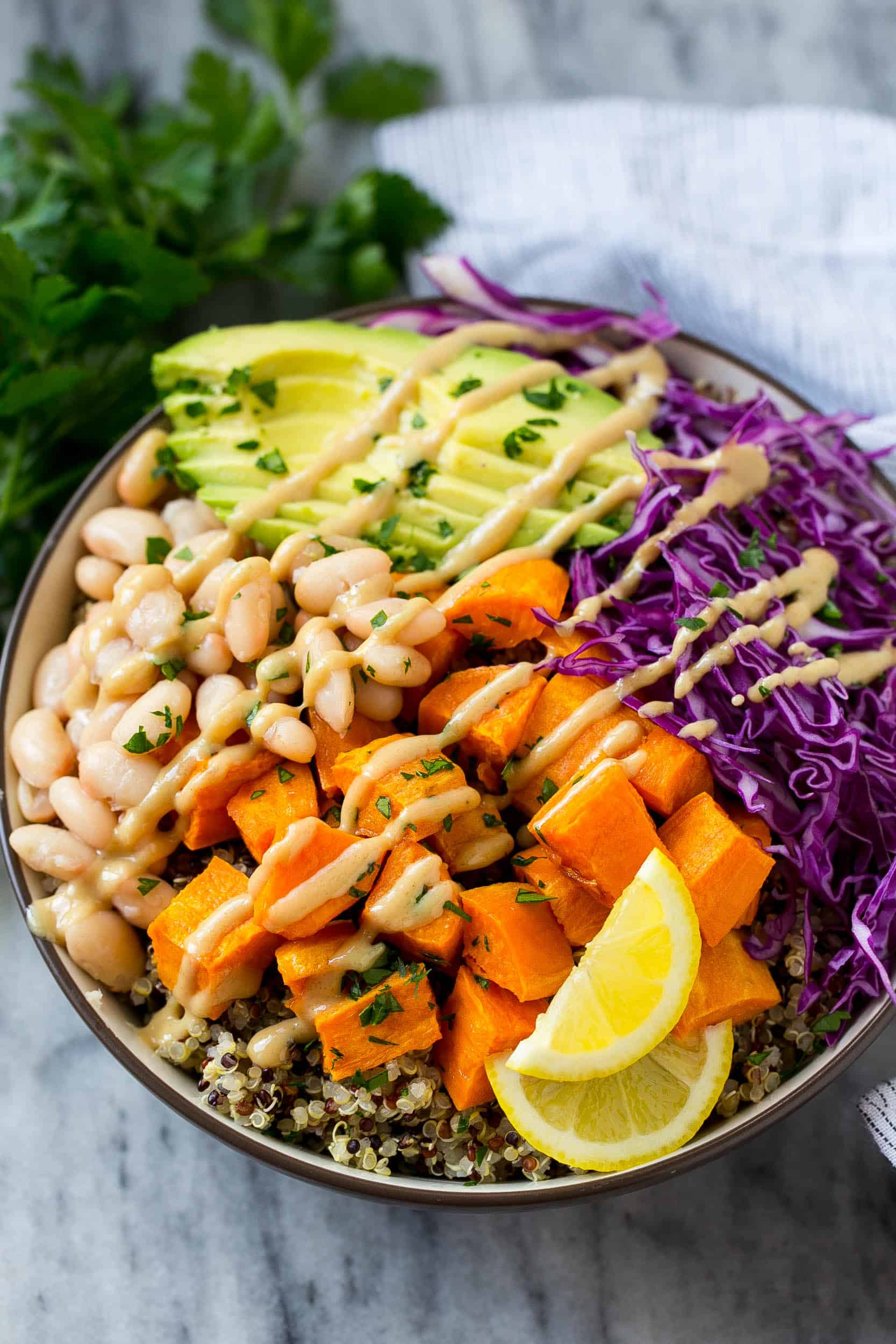 wholesome vegetable bowl with quinoa
