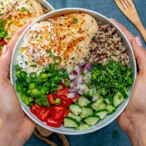 Hummus and quinoa veggie bowls