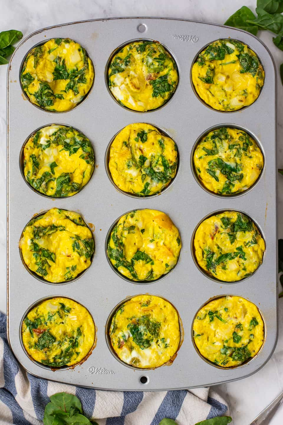 veggie baked egg muffins in a pan