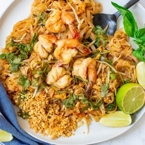 overhead shot of Shrimp Pad Thai on a white plate
