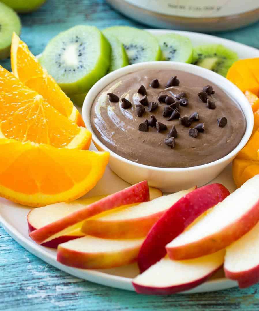 side shot of dip with fruit