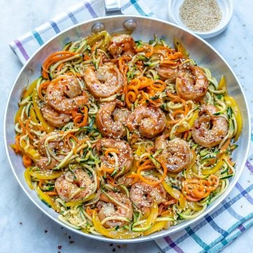 Asian shrimp veggie noodle stir-fry