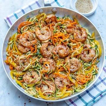 Asian shrimp veggie noodle stir-fry