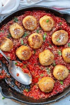Chicken Parmesan Meatballs In Tomato Sauce