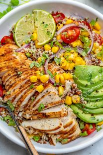 Mexican grilled chicken bowls