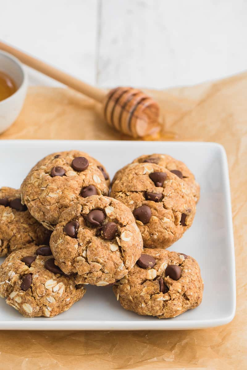 Healthy Chocolate Chip Pumpkin Cookies on a white plate