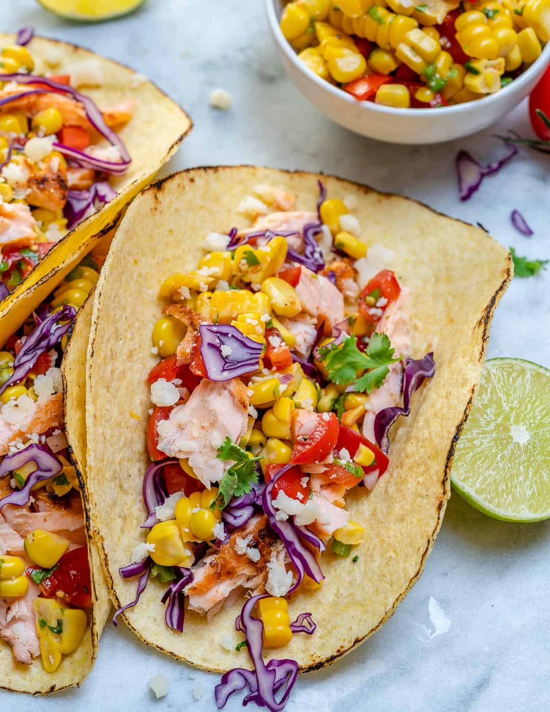 Salmon Tacos With Corn Salsa