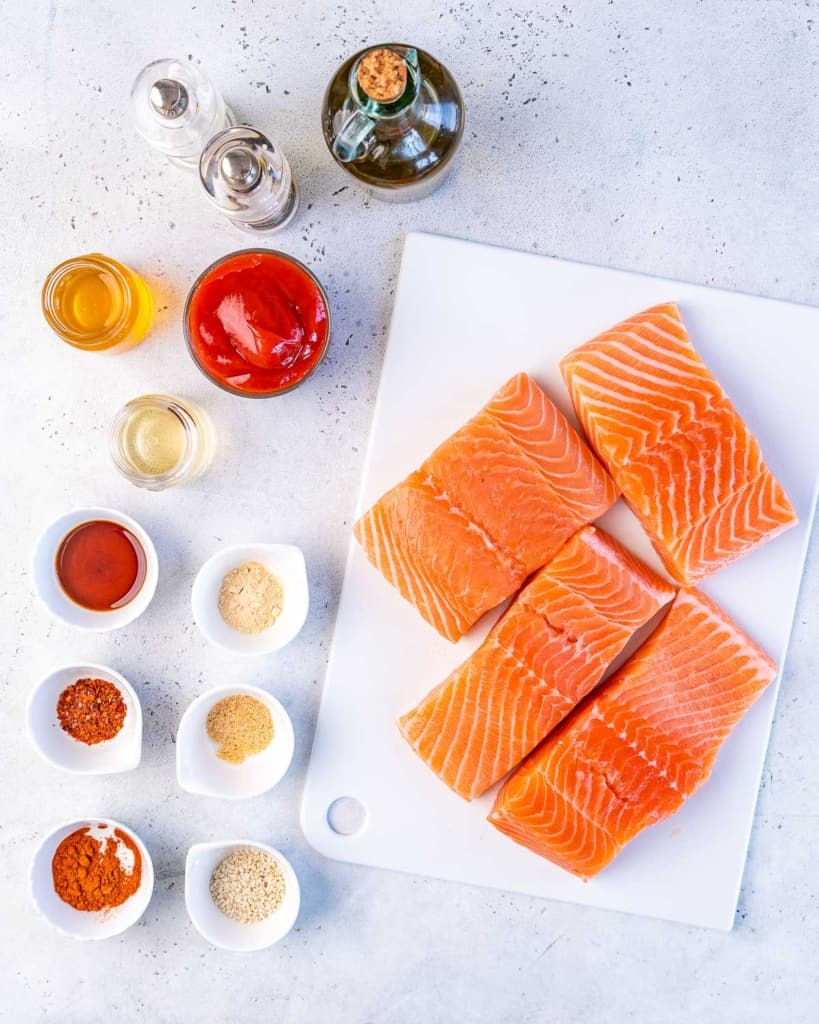 top view ingredients to make bbq salmon