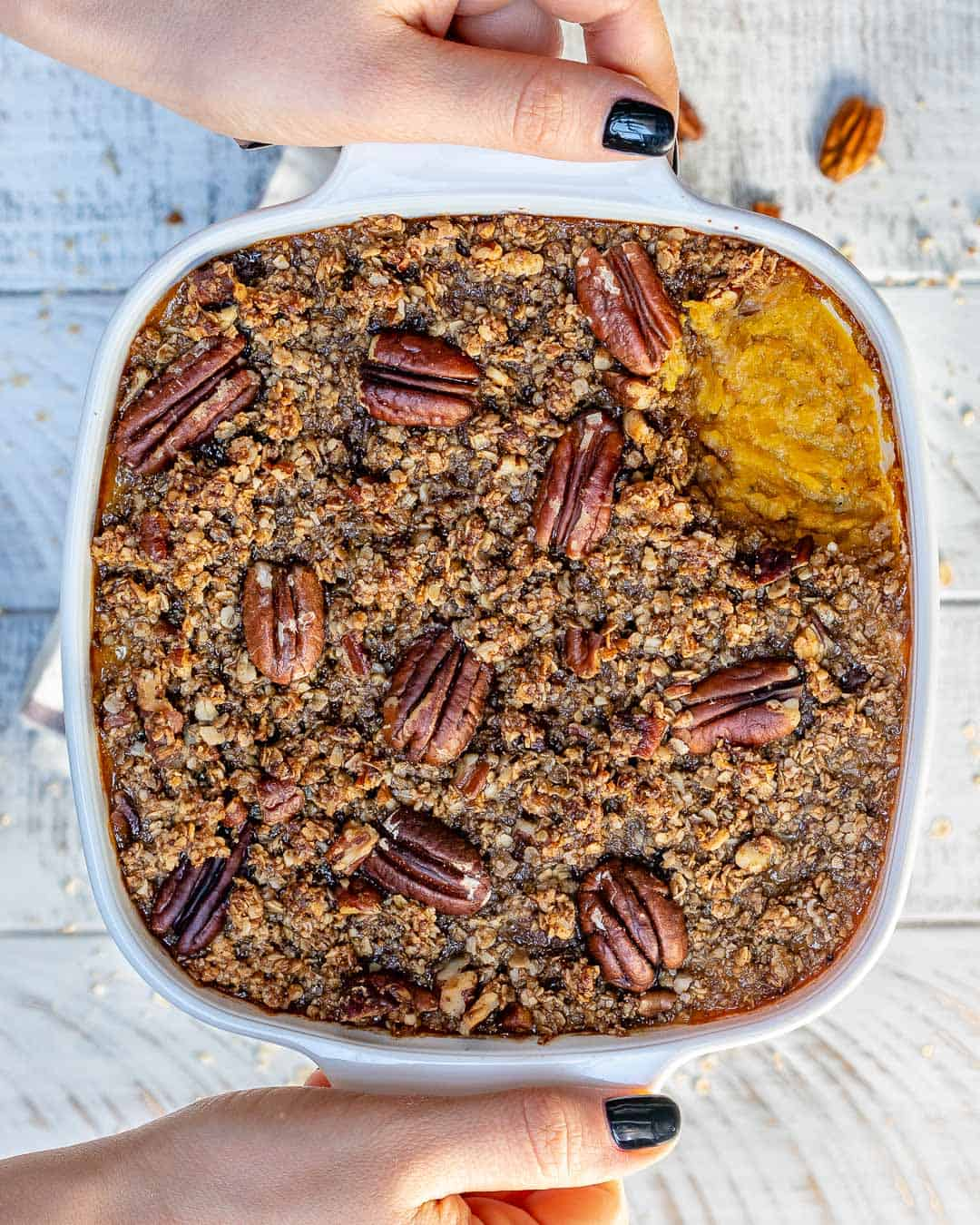 casserole with pecan topping