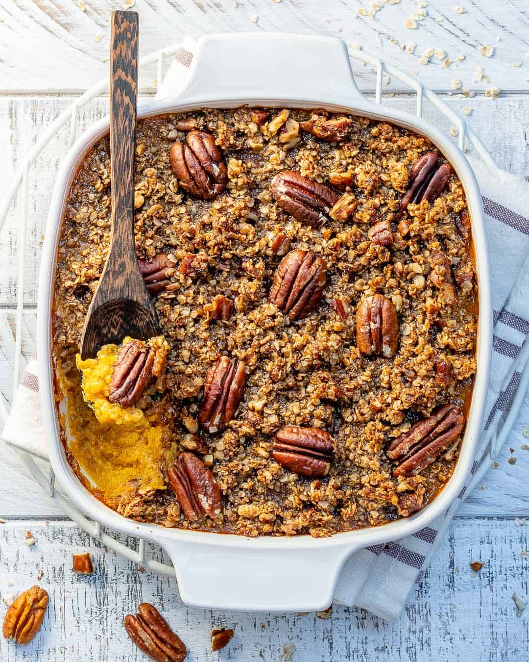 butternut squash casserole with pecan topping