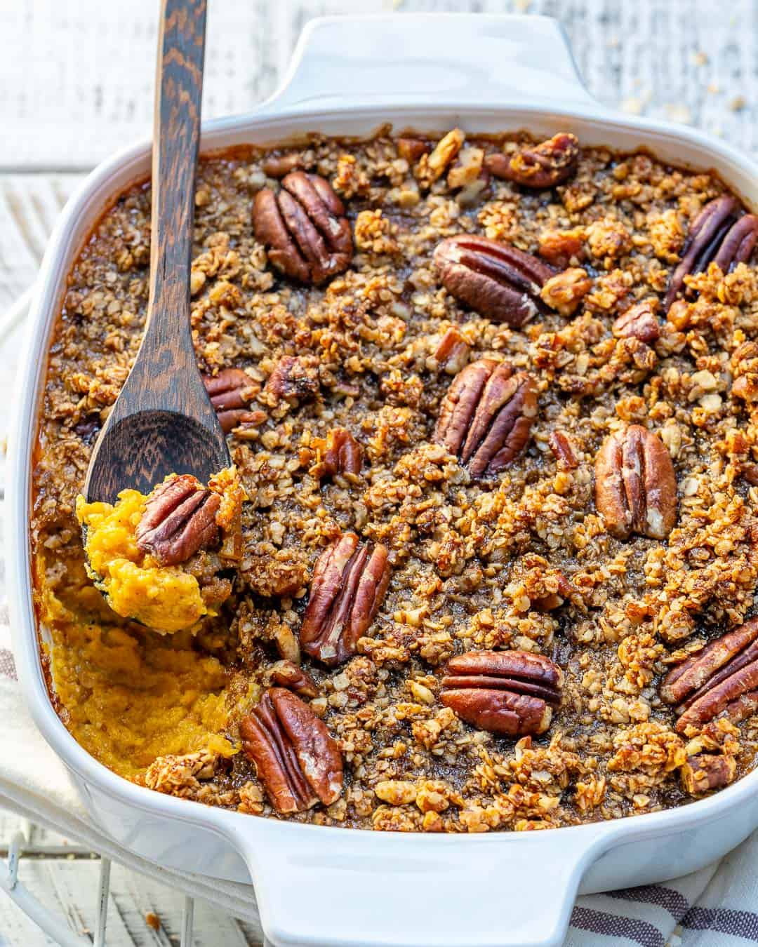 Healthy and Scrumptious Butternut Squash Casserole Recipe Topped with Toasty Pecan Crust | www.healthyfitnessmeals.com | Casserole Recipe | Butternut squash Recipe | Healthy Casserole Recipe | #Healthycasserole #healthyrecipe #butternutsquash