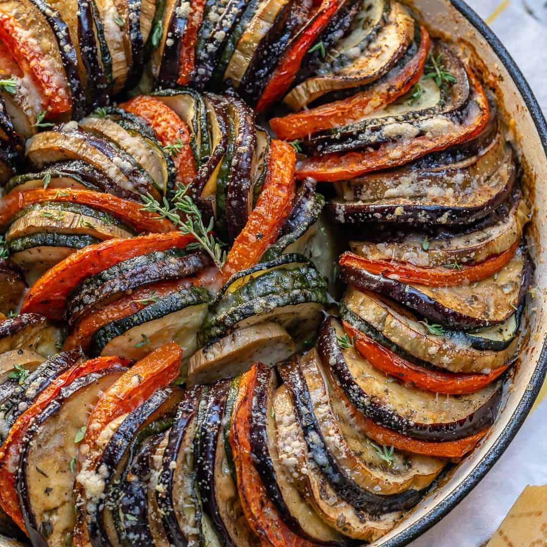 Healthy Eggplant Zucchini Gratin