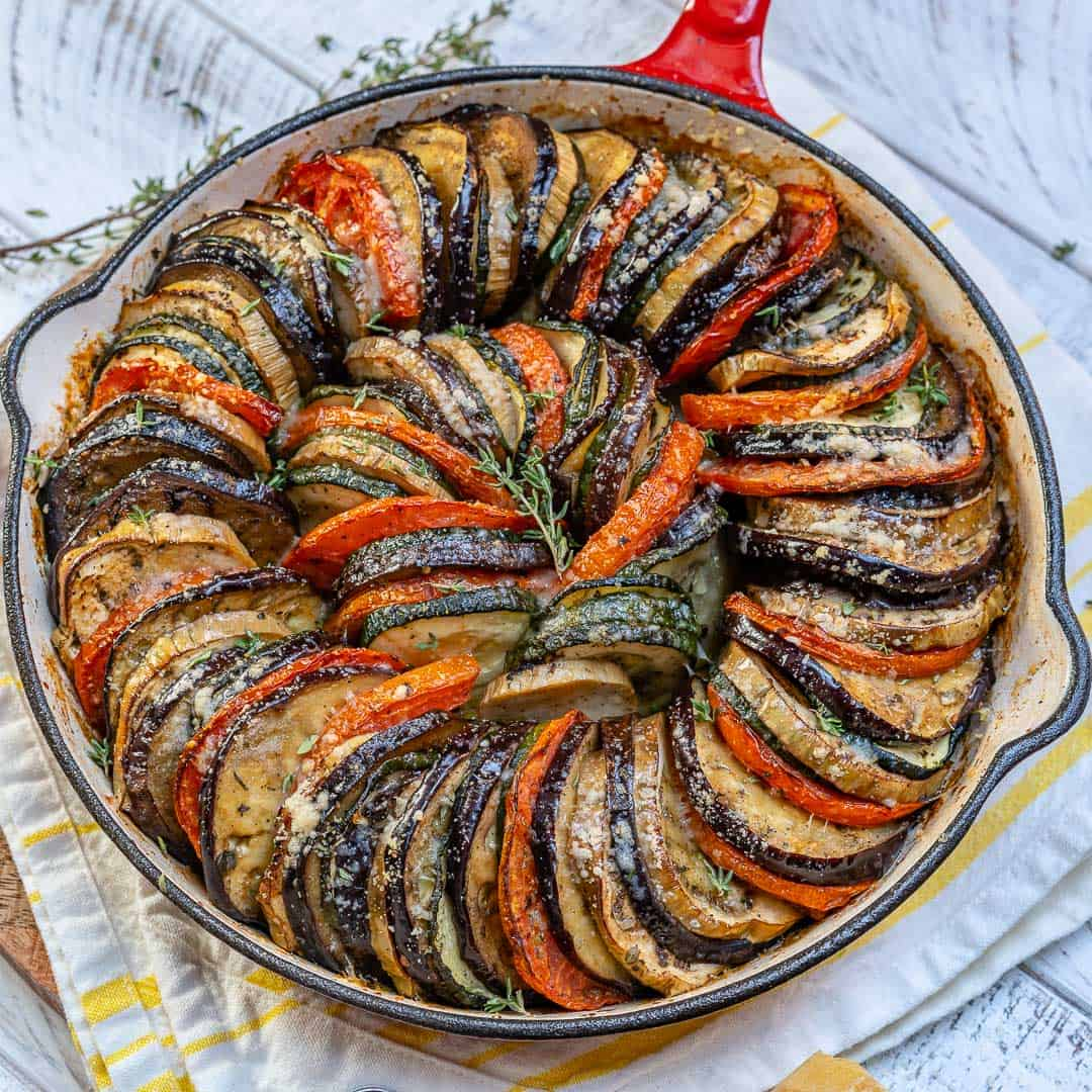 roasted veggies gratin in dish
