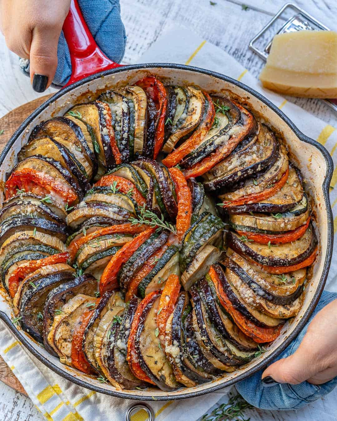 roasted eggplant recipe in dish, top view