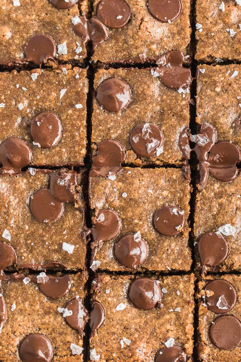 top view cut up dessert brownie like bars