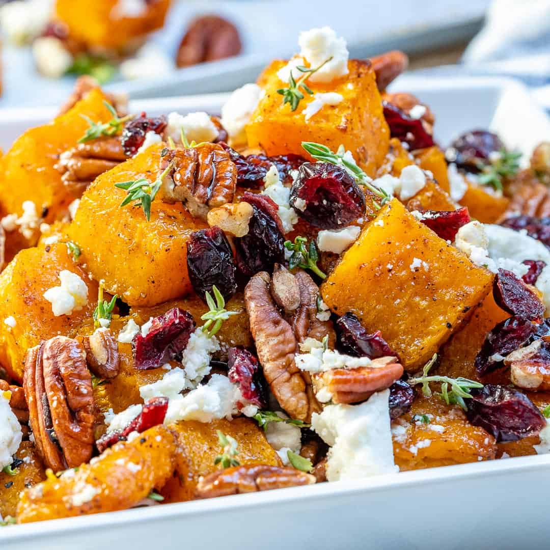 squash with cranberry, feta cheese and pecan