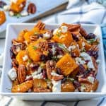 roasted squash with cranberry, feta cheese and pecan